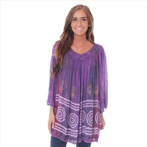 Plus Size Tie Dye Tunic - Purple